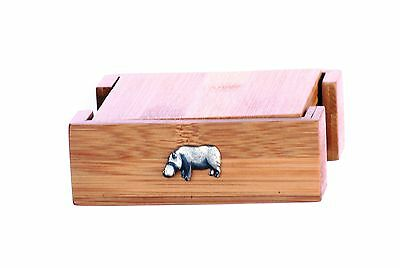 Hippo Coffee Table Coasters Stacked Set Made of Sustainable Bamboo Safari Gift