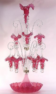 """Spectacular  30"""" Tall Two Tier 9 Basket Opalescent Cranberry Glass Epergne"""