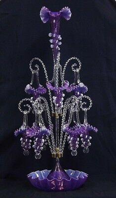 """Spectacular  30"""" Tall Two Tier 9 Basket Opalescent Amethyst Glass Epergne"""