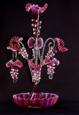 Opalescent Cranberry Glass Epergne