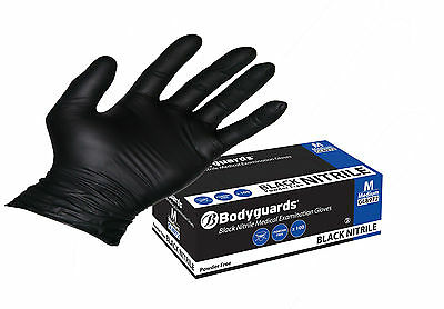 Bodyguard Black Nitrile Gloves Disposable Powder  Tattoo Mechanic GL897