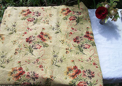Pretty panel Vintage Antique French Fabric 1940s Woven Country Cottage Flowers