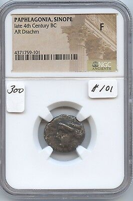 Ancient Sinope Paphlagonia late 4th Century BC Drachm (#101) NGC Fine. Carefully
