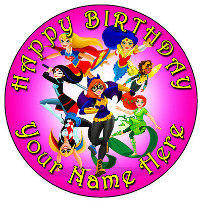 """Dc Superhero Girls Party - 7.5"""" Personalised Round Edible Icing Cake Topper Pink"""