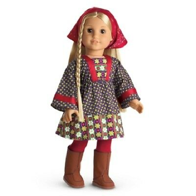 American Girl Julie CALICO DRESS outfit hat boots tights #F9976-AF1A     NO DOLL