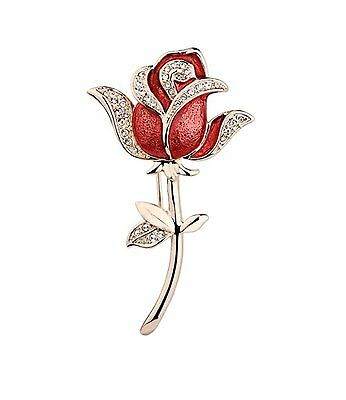 Perfect ladies GIFT Swarovski Crystal Red Rose flower Brooch gold tone