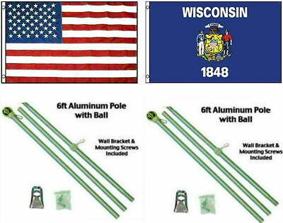 3x5 USA American /& State of Kansas Flag Galvanized Pole Kit Top 3/'x5/'