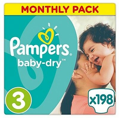 Pampers Baby-Dry Nappies Monthly Saving Pack - Size 3, Pack Of 198