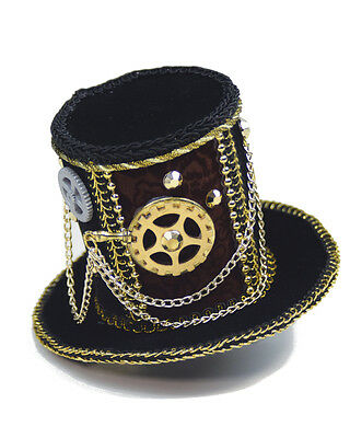 Black Steampunk Mini Micro Top Hat With Mechanical Gears Costume Accessory