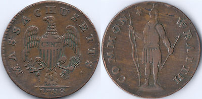 1788 Massachusetts Copper One-Cent 1¢ Colonial Penny Superbly Preserved Details✰