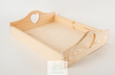 Serving tray, breakfast tea tray, heart shaped handle, plain wood tray TC774