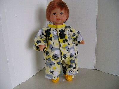 "Handmade Pyjamas ""Puppies and Flowers for all 12:-13"" Baby Dolls"