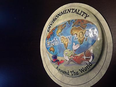 Jiminy Cricket Earth Day Button 2002 on Card Around the world
