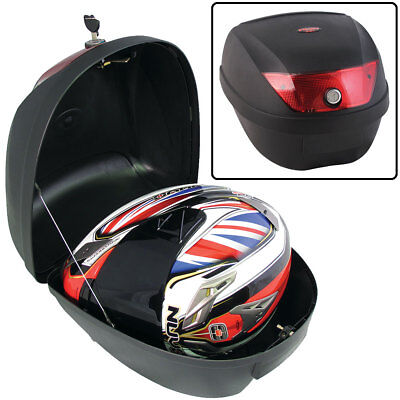 Motorcycle Black 26 Litre Top Box Case Motorbike Scooter Luggage For 1 Helmet
