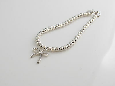 Auth Tiffany & Co Silver Bow Bead Bracelet Box Included