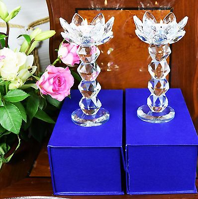 Pair Of Crystal Clear Cut Lotus Tealight Candle Holder & Gift Box