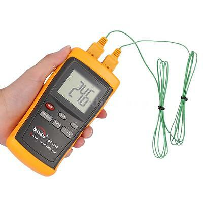Handheld 2 Channel K-Type Digital Thermometer Thermocouple Sensor Tester X5W0