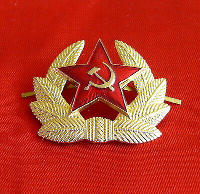 Authentic Soviet USSR Red Star Hat Cap badge Cockade Sickle and Hammer Communism
