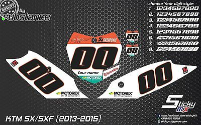 2013-2015 SX SXF 150 250 350 450 custom number plates backgrounds decals MX EXC