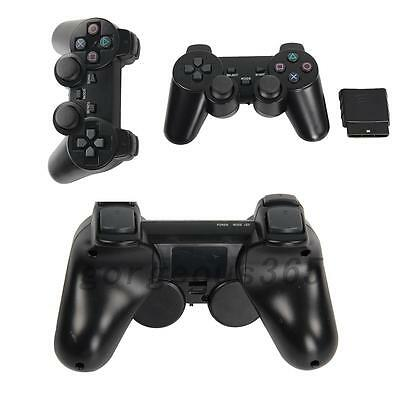 2X Black 2.4G Wireless Shock Game Controller for Sony PS2