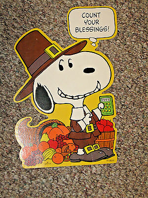 VTG Hallmark Thanksgiving Diecut, Peanuts, Snoopy - Pilgrim Count Your Blessings