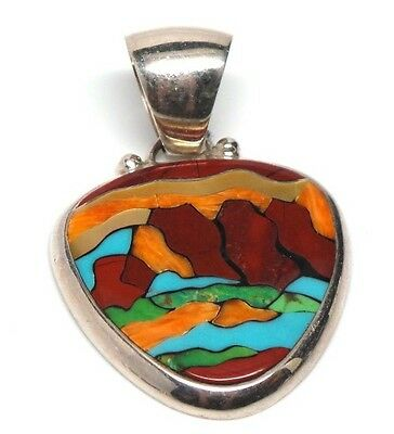 Southwest Handmade Multi Color Inlay Sterling Silver Pendant -E. L