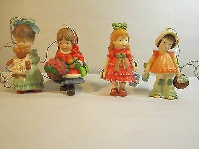 4 Anri Toriart Christmas Ornaments Little Girls in Original Boxes