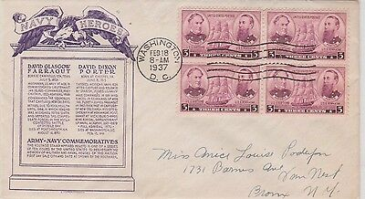 First day issue, 1937, American Navy Heroes, block 4, Scott #792