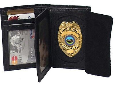 Genuine Cowhide Leather Badge Wallet for Firefighters, Police etc. #4622