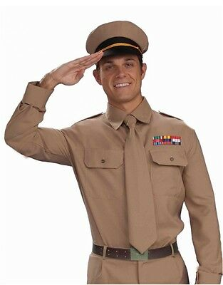 Brown Black Military Officer WW2 General Navy Marines Army Private Costume Hat