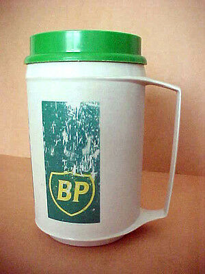Vintage BP Insulated Travel Mug 12 oz  Approx. 1990 ~ No Stains Tight Lid