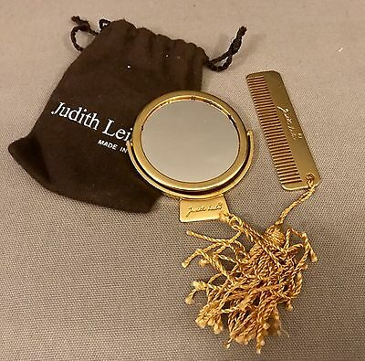 Judith Leiber 2 ways gold tone mirror and mini comb/orignal pouch Made In Italy
