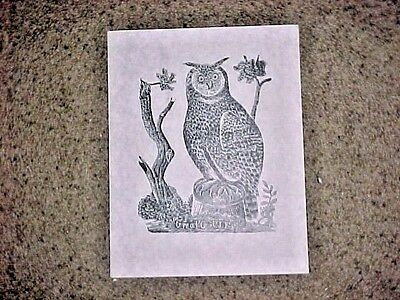 """Parson Jonathan Fisher woodcut print """"Great Owl"""" marked """"Limited Edition"""""""