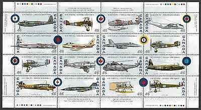 Canada Stamps — Full Pane of 16 — Canadian Air Forces #1808 — MNH