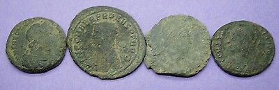 Group of four unresearched ancient Roman bronze coins 3rd-4th century AD