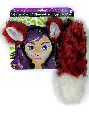 Adult or Child Costume Accessory Fox Headpiece Ears and Tail Animal Set