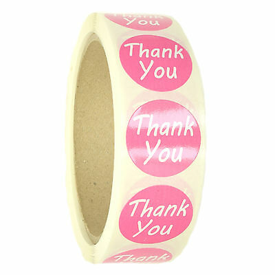 "Pink ""Thank You"" Labels Stickers - 1"" diameter - 500 ct Roll - SL087F"