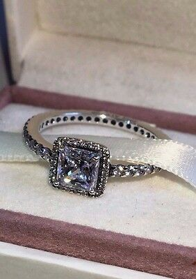 Pandora Timeless Elegance Ring 190947Cz, S925 Ale, Size 56 Sterling Silver+Pouch