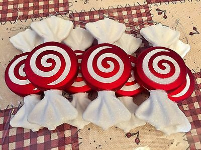 Christmas Tree Peppermint Swirl Wrapped Candy Shatterproof Ornament 7 Pcs