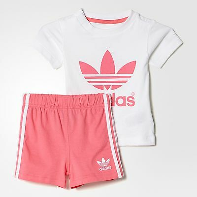 adidas Originals girls baby/infant 3 stripe shorts & top set. Summer set. 3-24M.