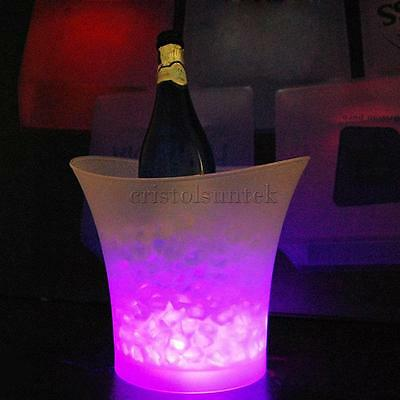LED Ice Bucket Champagne Wine Beer Cooler Party Xmas 5L Pink