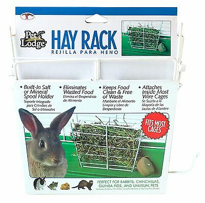 PET LODGE WIRE RABBIT HAY RACK Powder Coated Chew Proof Wire Holds Salt Spool