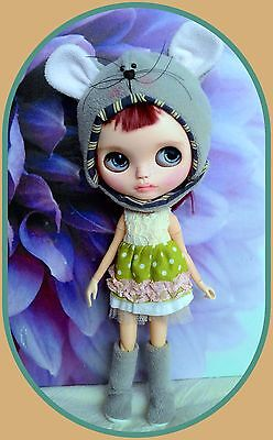 Mouse hat / helmet & boots for Blythe doll**