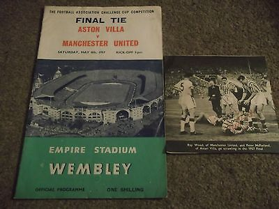 1957 Fa Cup Final Aston Villa V Manchester United Programme & Autographs