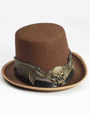 New Deluxe Brown Steampunk Gothic Skull Costume Top Hat Band