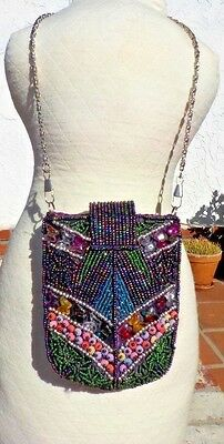 Multi Colored Beaded Hand Bag Purse W/ Long & Short Chain Handle Nepal Free Ship