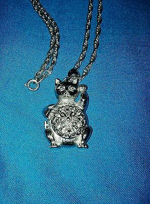 Ladies silver cat shaped watch on chain