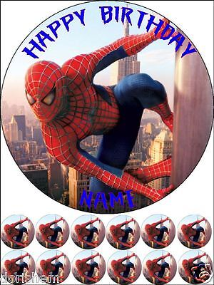"""Edible Round 7,5"""" Spiderman Birthday Cake Topper And 12 Cupcake Toppers"""