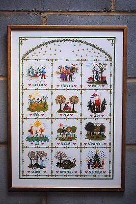 Unique Danish Hand Made Cross Stitch Framed Picture with Year Calendar Months
