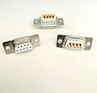 Pack of 3 ~ 9 Pin Female D-Sub Socket Chassis Solder Connector  RS232 Serial DB9